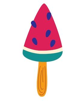 Glace en forme de pastèque. glace en forme de triangle. dessert glacé, pastèque