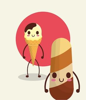 Glace kawaii et popsicle