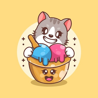 Glace mignonne avec dessin animé de chat