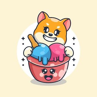 Glace mignonne avec dessin animé de chien shiba inu