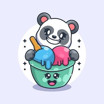 Glace mignonne avec dessin animé panda