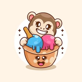 Glace mignonne avec dessin animé singe