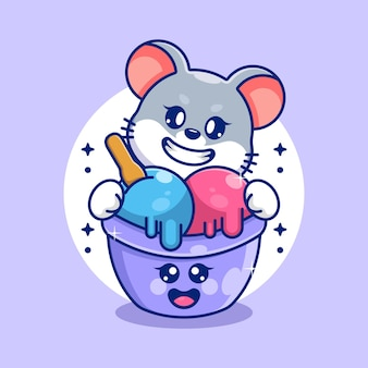 Glace mignonne avec dessin animé de souris