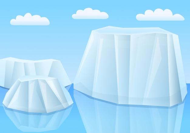 Glaciers de dessin animé dans la mer, illustration vectorielle