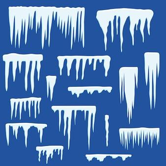 Glaçons d'hiver. ensemble de calottes glaciaires. articles de décoration de neige. conception de cartes de noël, site web, soldes d'hiver. illustration vectorielle plane.
