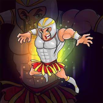Le gladiateur avec la conception de logo d'esport d'armure de casque d'illustration