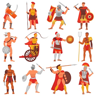 Gladiateur vecteur guerrier romain personnage en armure avec épée ou arme et bouclier dans la rome antique illustration ensemble de l'homme grec warrio combattant dans la guerre isolé