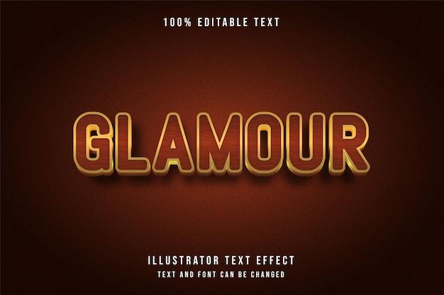Glamour, effet de texte modifiable 3d style or orange jaune