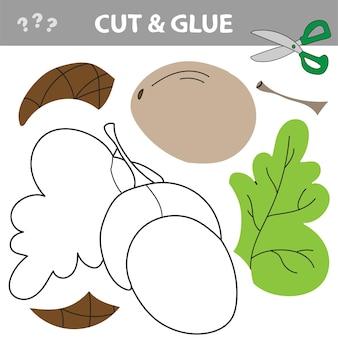 Gland. jeu de papier éducatif pour les enfants d'âge préscolaire. couper et coller - illustration vectorielle.
