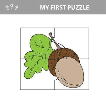 Gland. jeu de papier éducatif pour les enfants d'âge préscolaire. illustration vectorielle. mon premier casse-tête