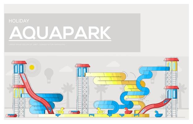 Glissades d'eau et mansardes lumineuses de différentes couleurs dans le parc aquatique.