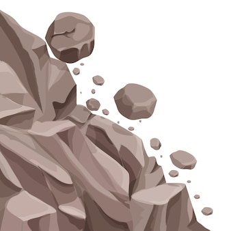 Glissement de terrain en montagne avec des chutes de pierres dans un style plat de dessin animé