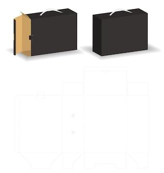Glisser boîte rigide avec sac style maquette boîte dieline