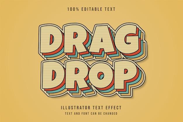 Glisser déposer, effet de texte modifiable 3d dégradé jaune style de texte de couches rétro bande dessinée bleu rouge