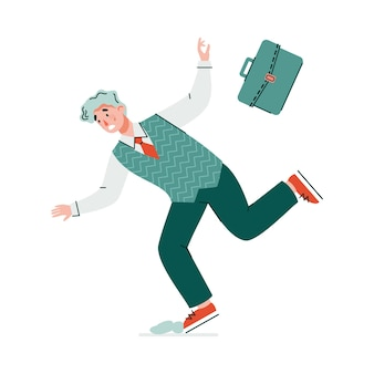 Glisser et tomber le personnage de dessin animé d'homme d'affaires, illustration vectorielle plane isolée sur fond blanc. accident dangereux causant des blessures et des traumatismes.