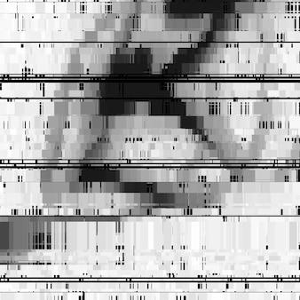 Glitch abstrait avec effet de distorsion des lignes noires et blanches horizontales aléatoires