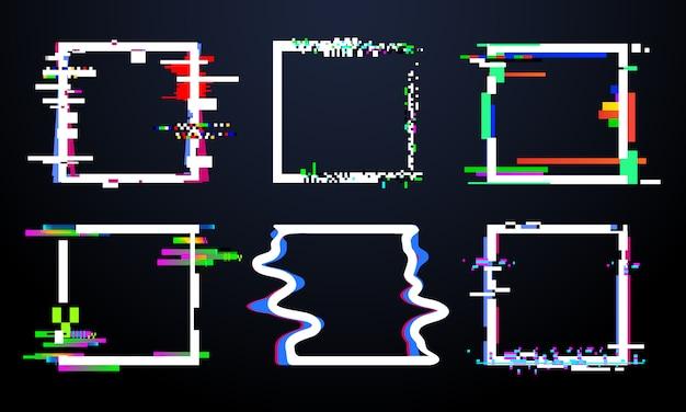 Glitch cadre carré. formes de carrés glitched à la mode, cadres géométriques abstraits et dynamiques avec des parasites parasites. jeu de vector design distorsion