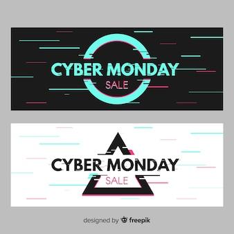 Glitch cyber bannières du lundi