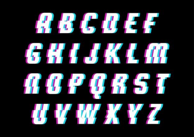 Glitch modern space technology alphabet set
