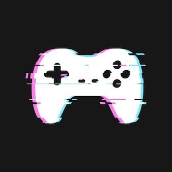 Glitched de l'illustration de la manette de jeu. joystick isolé avec des effets de bruit sur fond sombre