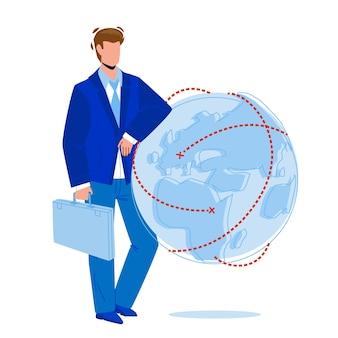 Global business managing businessman pdg vector. développement et gestion des affaires mondiales jeune homme. type de personnage portant un costume et tenant un étui restant près de la planète sphère illustration de dessin animé plat