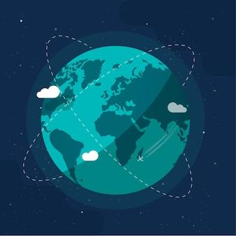 Global communication future technology business autour de la planète terre à partir d'orbites spatiales