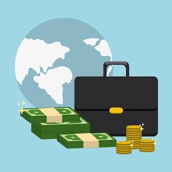 Global avec valise et billet vert et pièces de monnaie