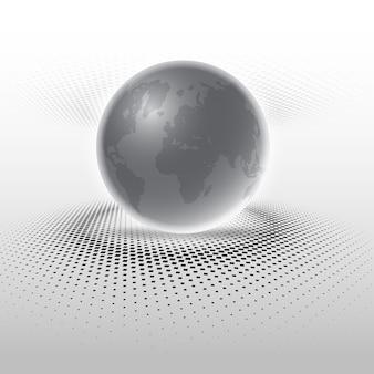 Globe abstrait sur des points de demi-teintes