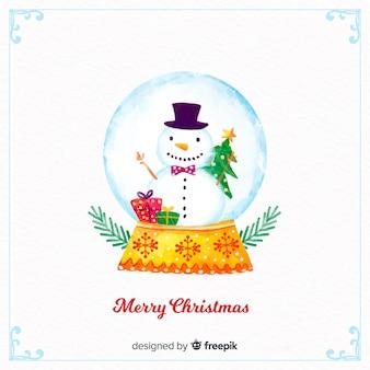 Globe aquarelle de bonhomme de neige de noël