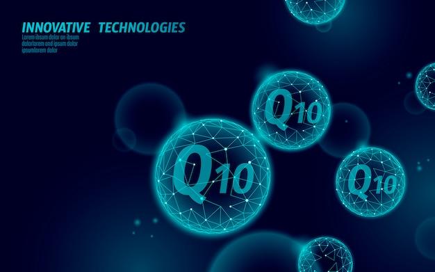 Globe bleu foncé en vitamine q10 low poly. complément de santé soin de la peau cosmétique anti-âge et complexe coenzyme q ubiquinone. illustration de science médecine