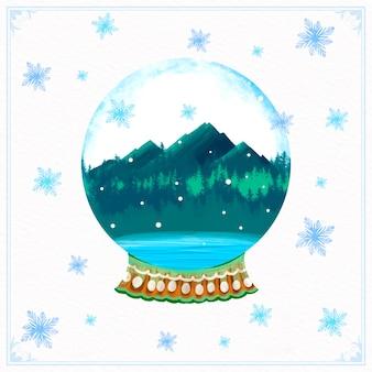 Globe boule de neige de noël aquarelle