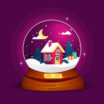 Globe boule de neige de noël design plat