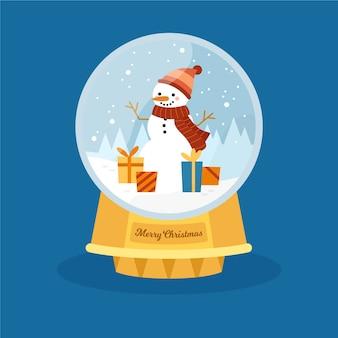 Globe de boule de neige de noël dessiné main avec bonhomme de neige