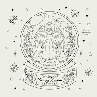 Globe boule de neige de noël dessiné à la main