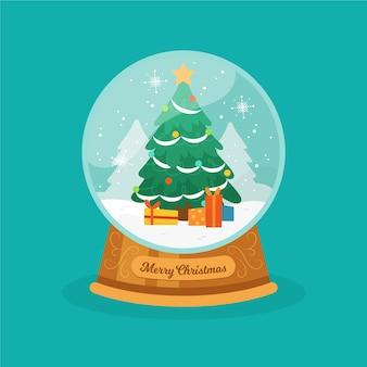Globe de boule de neige de noël dessinés à la main avec arbre de noël globe de boule de neige de noël dessinés avec maisons