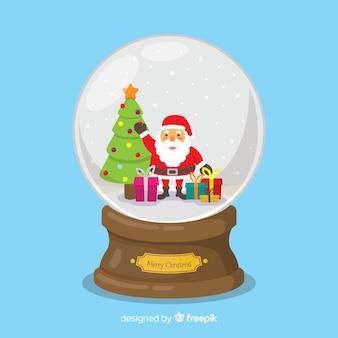 Globe boule de neige plat avec concept de noël