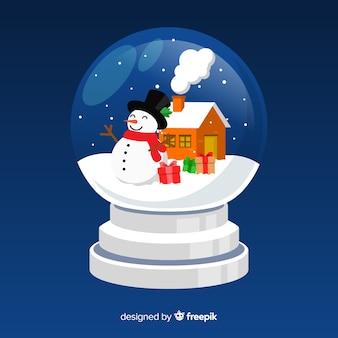 Globe boule de neige plat de noël