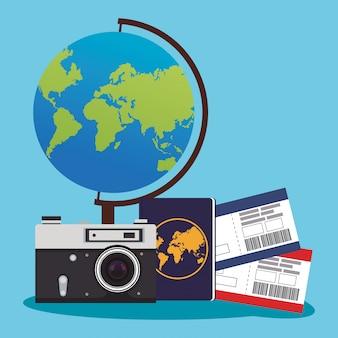 Globe et caméra avec panneaux de passeport et passeport