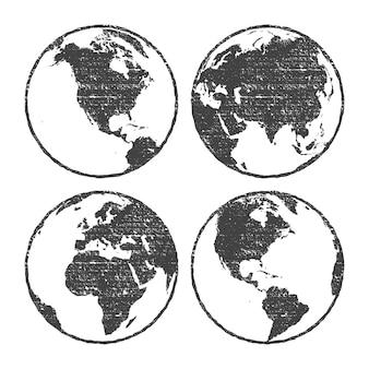Globe de carte du monde gris texture grunge défini transparent