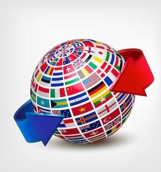 Globe composé de drapeaux avec deux flèches.
