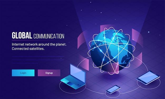 Globe connecté avec trois appareils numériques.