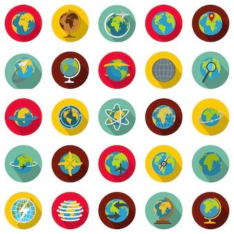 Globe earth set d'icônes, style plat