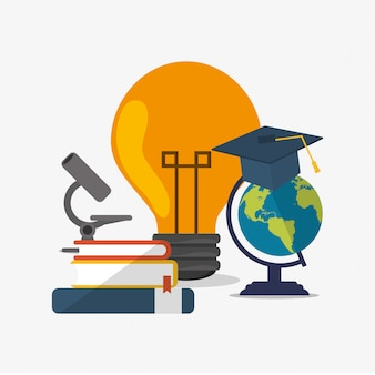 Globe de l'éducation et de la terre avec l'académie connexes image d'icônes