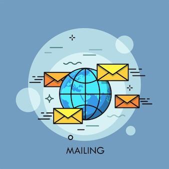Globe entouré d'enveloppes jaunes.