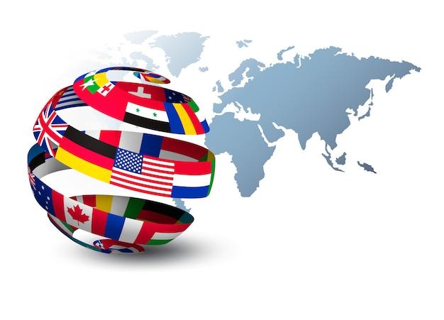 Globe fait de drapeaux sur une carte du monde