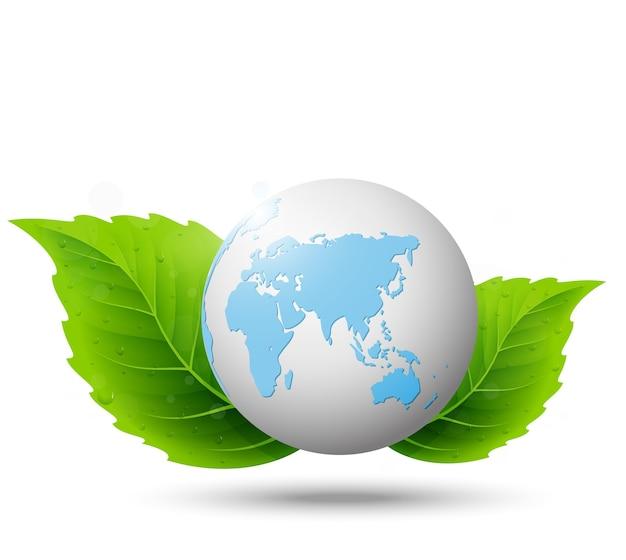Globe et feuille verte