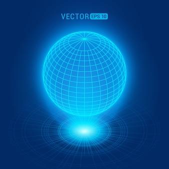 Globe holographique sur fond abstrait bleu avec des cercles et une source de lumière