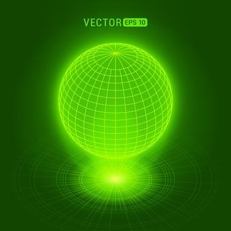 Globe holographique sur fond abstrait vert avec des cercles et une source de lumière