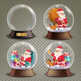 Globe de neige de noël avec le père noël et des cadeaux