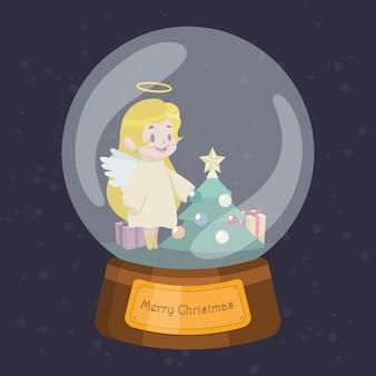 Globe de noël avec ange mignon